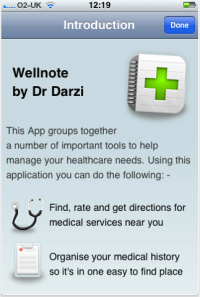 Wellnote welcome screen