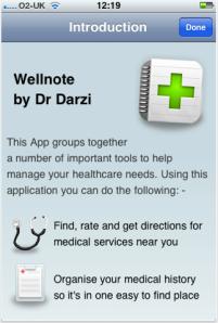 Wellnote welcome screen